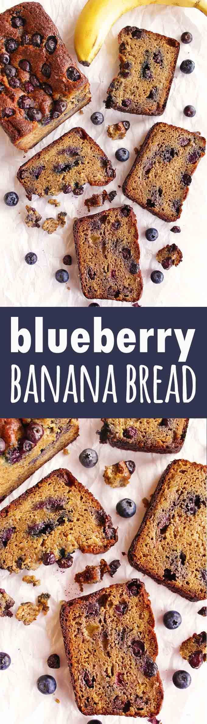 Blueberry banana bread - Sweet and tender banana bread studded with fresh blueberries. This blueberry banana bread is gluten free, grain free, and only requires 12 ingredients. It's perfect for breakfast, a snack, or as a healthier dessert. A must try recipe for all of the cozy feels! | robustrecipes.com