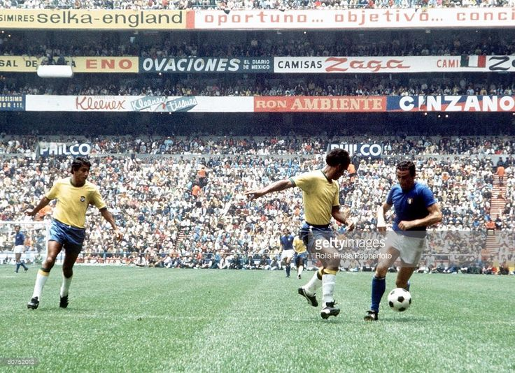 World Cup Final 1970, Mexico City, Mexico, 21st June, 1970, Brazil 4 v Italy 1, Italy's Luigi Riva takes on Brazilian defenders Clodoaldo (left) and Gerson during the World Cup Final