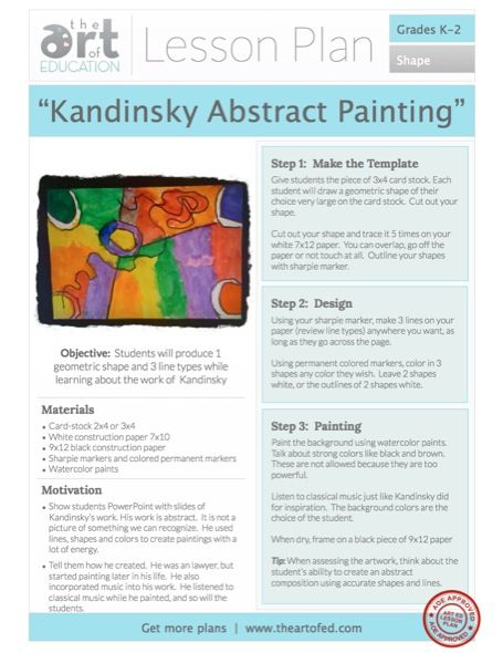 Kandinsky Abstract Painting. A favorite by art teachers and kids alike. Download the plan here.
