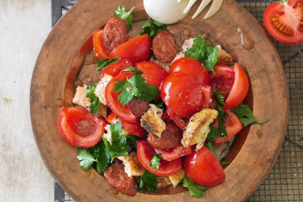 Use ruby-red truss tomatoes as the hero ingredient in this chorizo salad dressed with tangy wine vinegar.