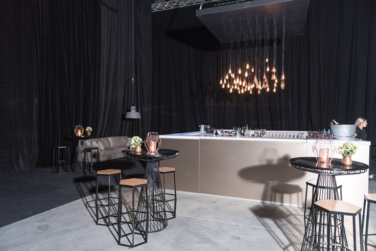 50th Birthday Party. Brushed Copper Event Bar, Industrial Pendants, Polished Concrete Floors.