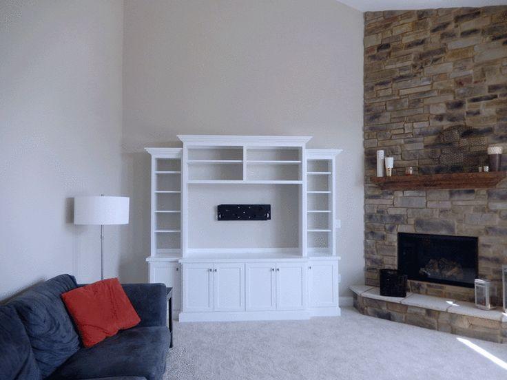 White Built In Entertainment Center Corner Fireplace