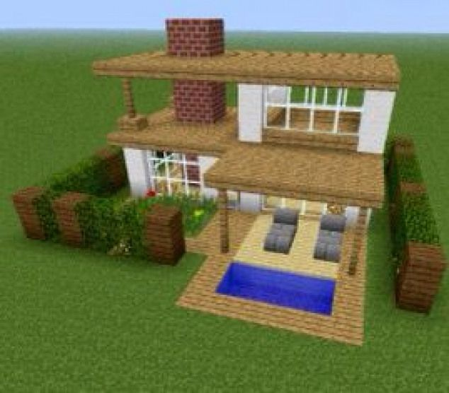 Minecraft Simple Modern House Designs: A Small But Modern House With A Chimney And A Simple