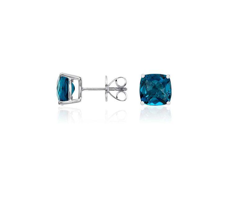London Blue Topaz Cushion Earrings In Sterling Silver 8mm