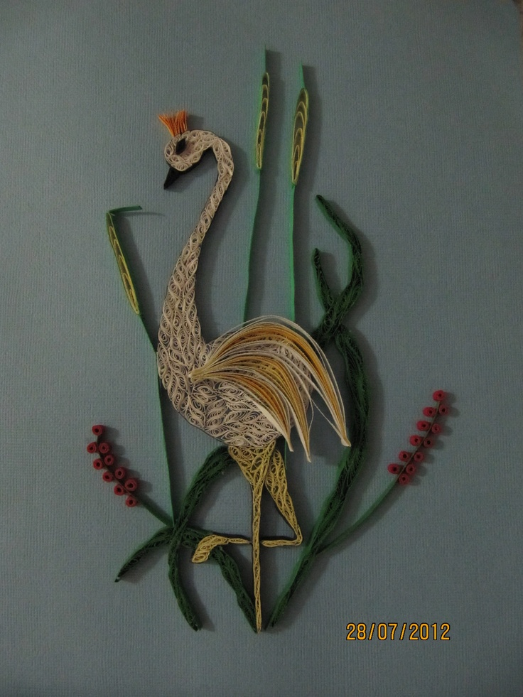 Magical and Majestic Stork poised among the greenery. $20.00, via Etsy.