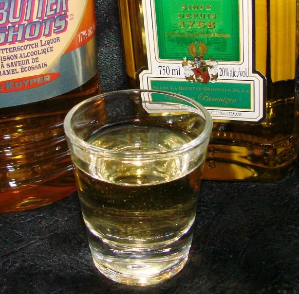 Carmel Apple Shot  - made with Butterscotch Schnapps and Sour Apple Schnapps  This is so good and smooth. Taste great. You don't realize how much you drank until it hits you. Sneeky little drink.LOL