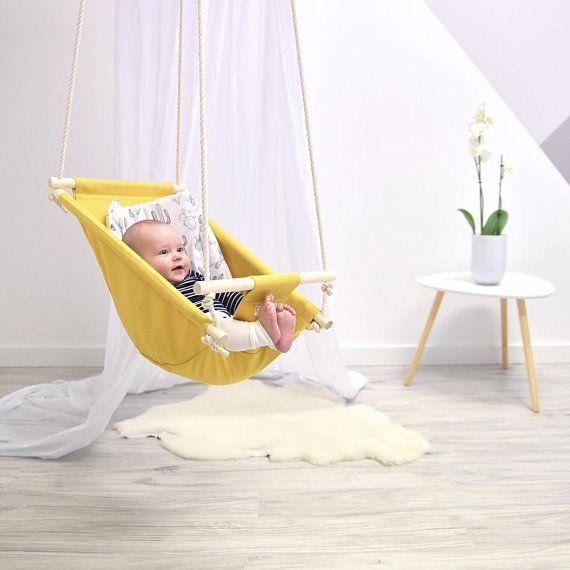 Byel Calm Baby swing, mustard, indoor swing, nursery decor. Baby shower gift, first birthday present. Baby boy, baby girl