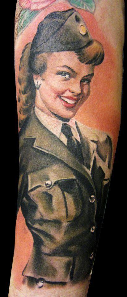 Military Pin Up Girl Tattoo - Matteo Pasqualin