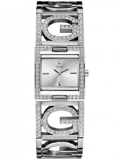 Guess Ladies Stainless Steel Stone Set White Dial Watch W13074L1
