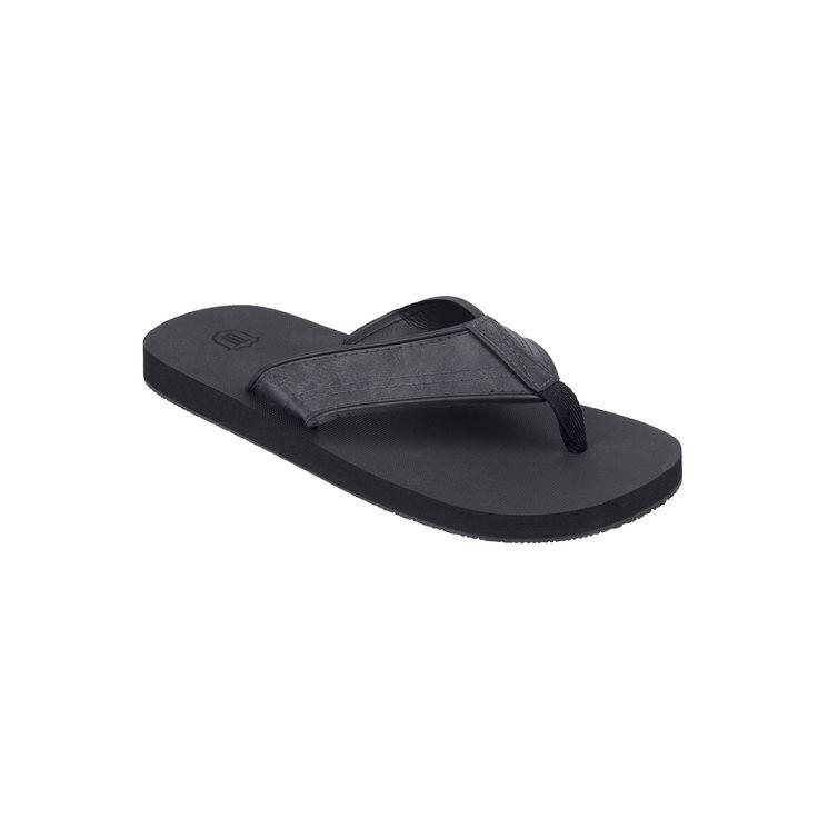 Men's Wembley Stitched Thong Flip-Flops, Size: Medium, Black