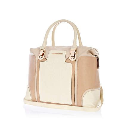 Beige colour block bowler bag  £40.00
