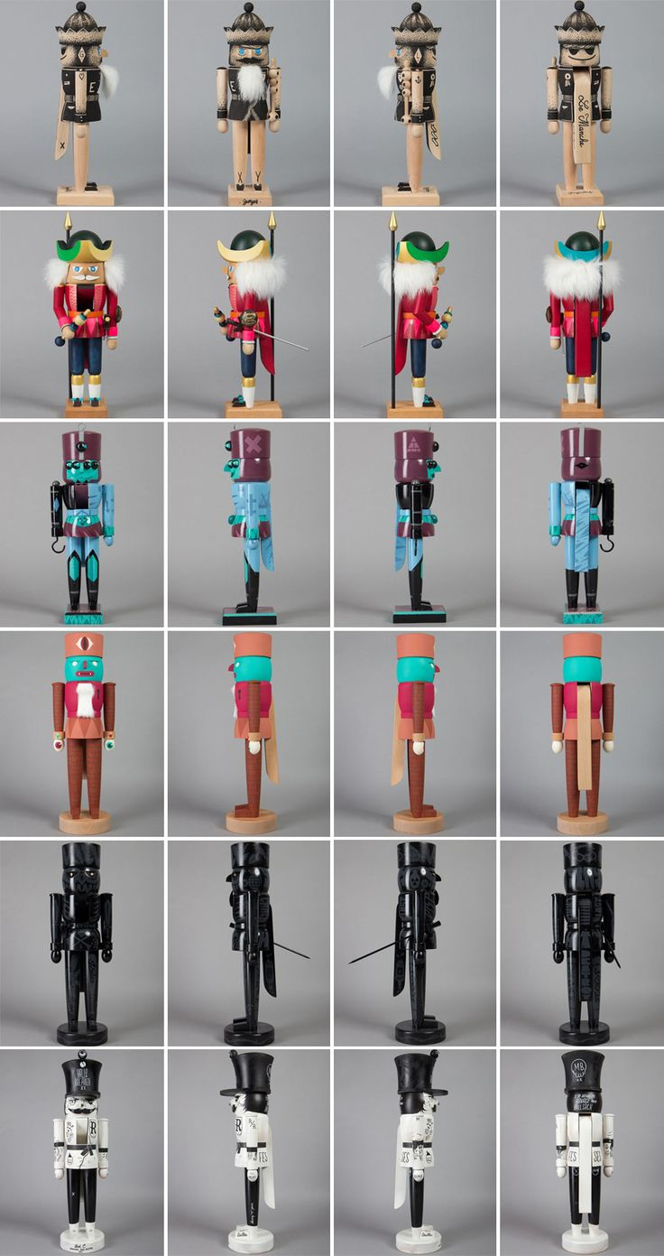 Nutcracker exhibition For this exhibition the Dudes asked artists to bring their interpretation to these meticulously hand crafted nut cracker dolls. From thieves to mutants the exhibition brought a truly original take to this traditional German craft.