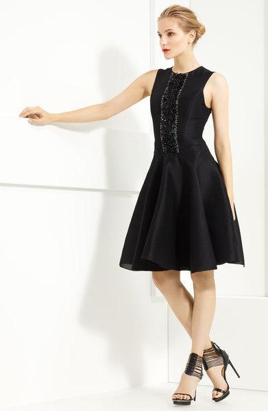 Jason Wu Black Zibeline Beaded Cotton & Silk Dress