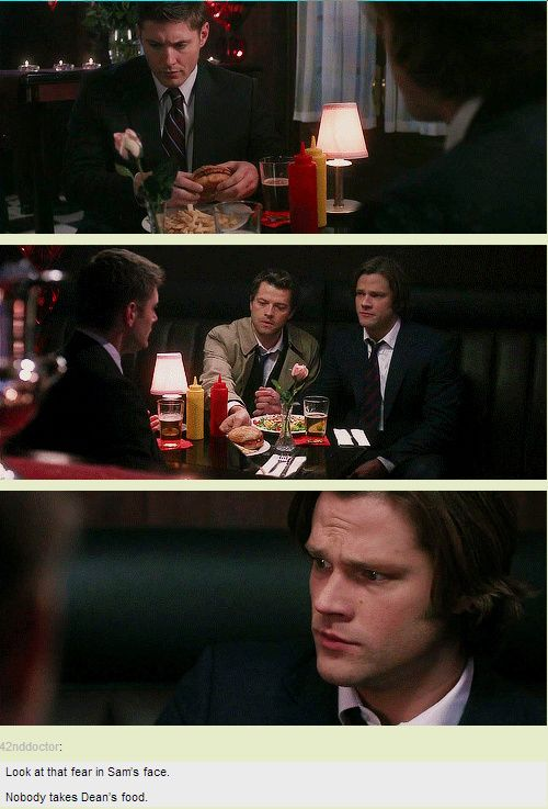 [GIFSET] 5x14 My Bloody Valentine /// Look at the fear on Sam's face. No one takes Dean's food. -- Haha