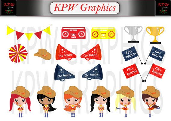 Red and Yellow Drill Girls Clipart in a PNG 300ppi by KPWgraphics
