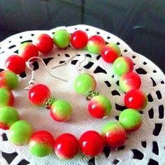 Parure  femme bracelet + boucles d'oreille perles rondes rouges et vertes
