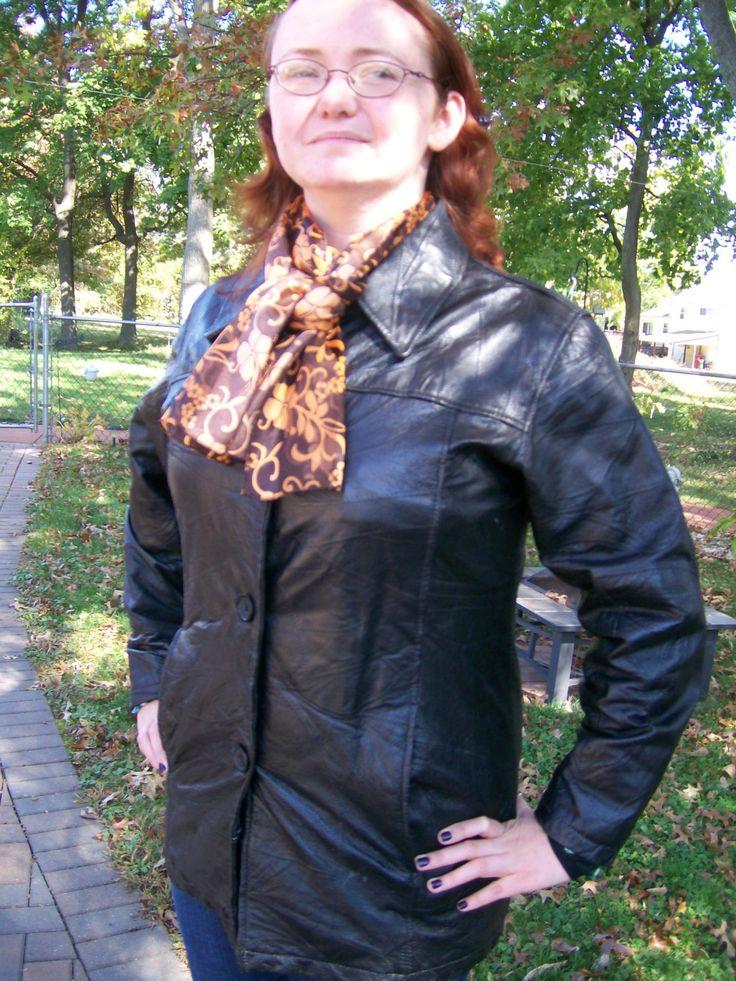 Ladies Black Leather Jacket by 2birdstudio on Etsy