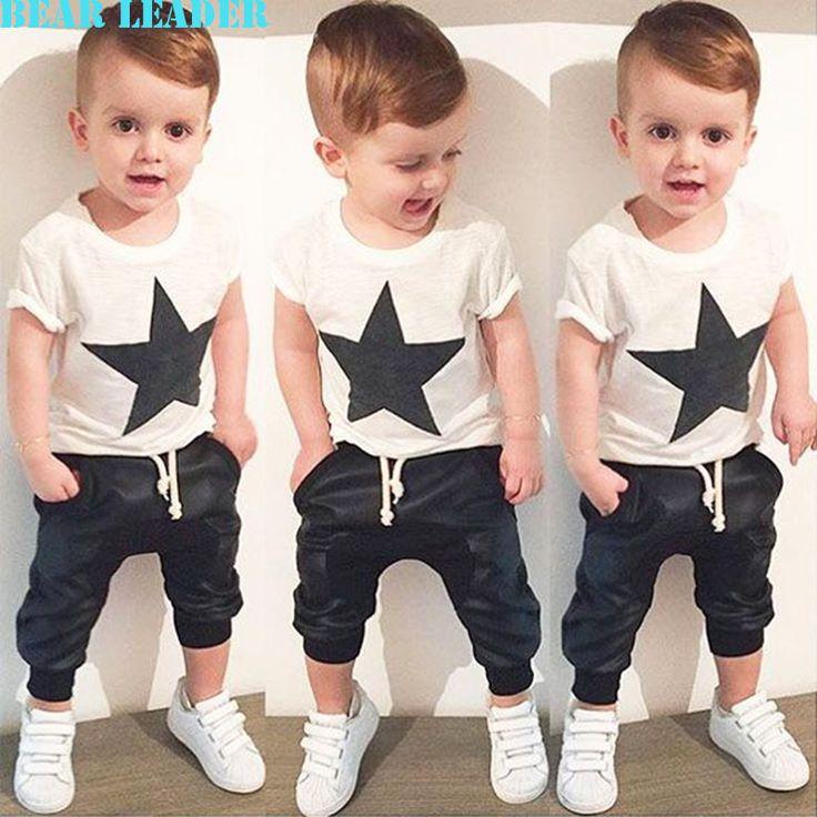 Miś Lider Zestawy Odzieżowe Dla Niemowląt 2016 Lato Style Dziewczynek Chłopców Ubrania Czarne Litery T-shirt + Sztuczna cowboy spodnie 2 sztuk garnitur
