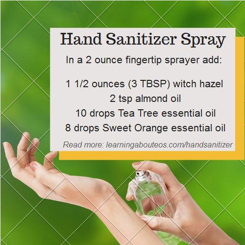 Spray on hand sanitizer