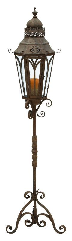 Aspire Home Accents 52946 Outdoor Candle Holder Lantern with Stand Brown Home Decor Accents Candle Holders