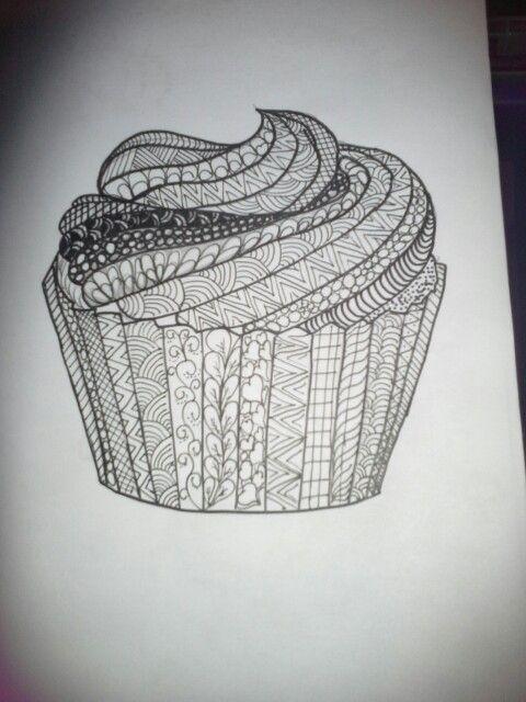 Zentangle cupcake