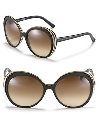 Alexander McQueen Round Etched Frame Sunglasses | Bloomingdale's
