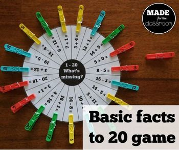 'What's Missing?' 1-20 basic facts activity