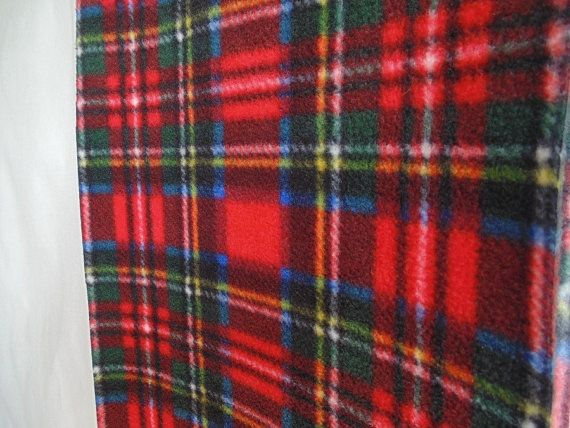 Red Plaid Scarf Red Tartan Fleece Scarf Womens Scarf by brefney