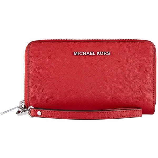 MICHAEL Michael Kors Jet Set Leather Travel iPhone 6 Case (€75) ❤ liked on Polyvore featuring accessories, tech accessories, bright red, zipper wristlet, iphone wristlets, leather iphone wristlet, red leather wristlet and zip wristlet