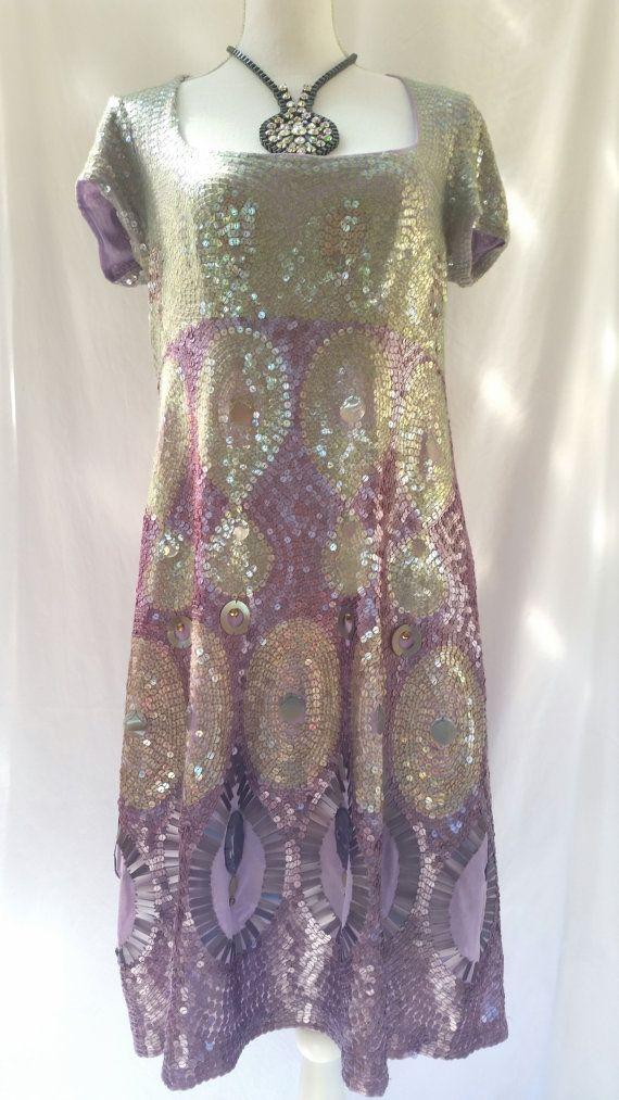 vintage sequin dress, AMAZING, 90s does 20s dress, all sequin dress, purple sequin dress, exceptional craftsmanship, sequin evening dress