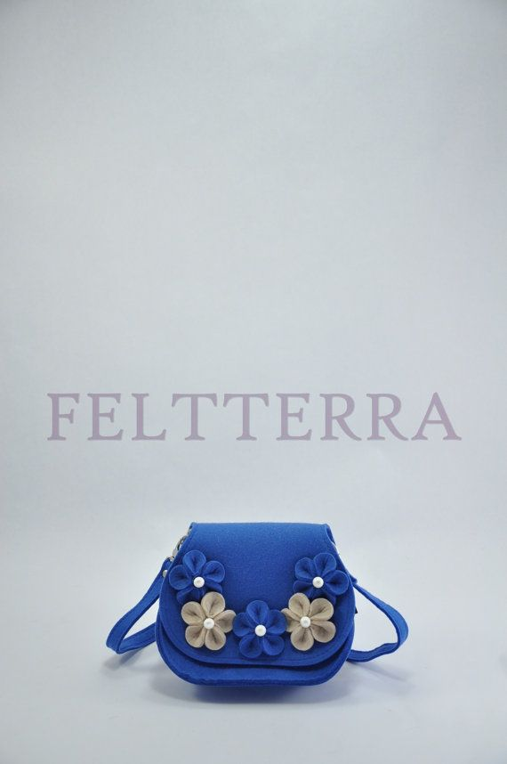 Middle blue cute Felt Bag Valerie. Original beautiful от FELTTERRA