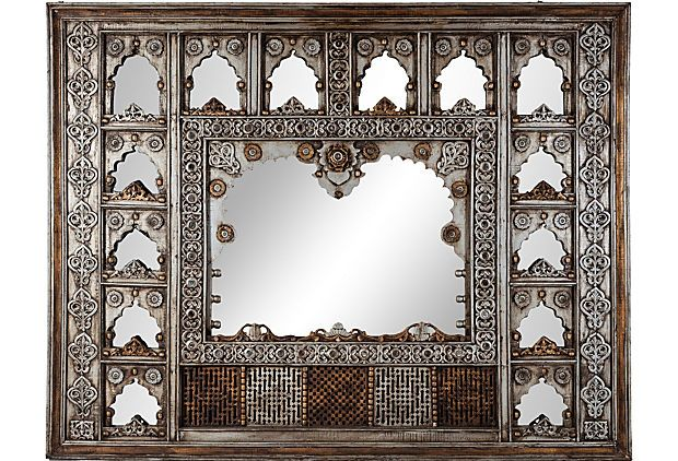 Jharokha Wall Mirror from India. As described by Russell Johnson Elegant jharokha wall piece with 14 mirrors and detailed carving.