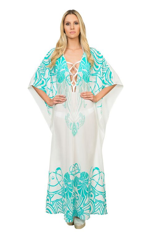 Buy the Long Kaftan VP1644 by Caffe Swimwear at CoutureCandy.com, the largest selection of Caffe Swimwear kaftan available online.