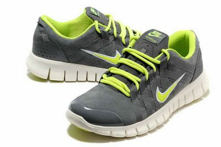 Mens Nike Free Powerlines Suede Grey Fluorescence Green