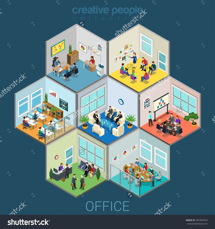 stock-vector-flat-d-isometric-abstract-office-interior-room-cells-company-workers-staff-concept-vector-287809943.jpg (1500×1600)