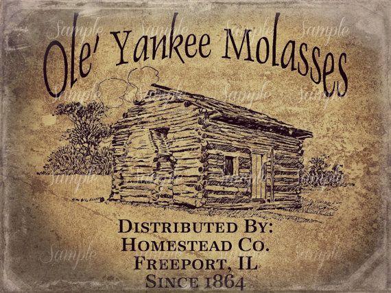 Primitive Vintage Log Cabin Molasses Jpeg Digital  Image Feedsack Logo for Pillows Pantry Labels Hang tags Magnets Ornies