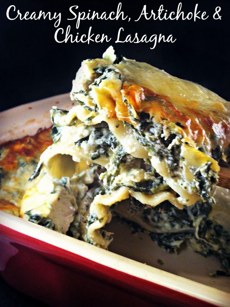 Creamy Spinach, Artichoke & Chicken Lasagna  #sponsored #MC