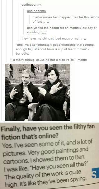 I love them because not only do they know about Johnlock, they troll it too  OMG SHERLOCK IS A NERDFIGHTER!!!!