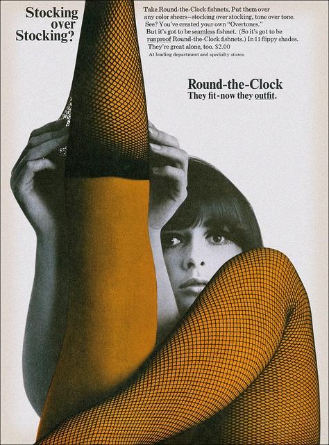 Stocking over stocking? | 1966: Round The Clocks Stockings, Fashion Clothing, 1960S, Art, Nylons Vintageencor, Poster, Legs, Fishnet Stockings, Vintage Ads