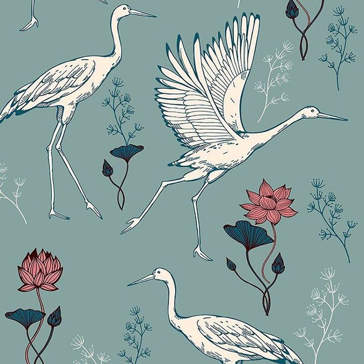 Wondrous Crane Bird for #patternbank » patternbank.com/mariia IG: @mariia_alexxandrova