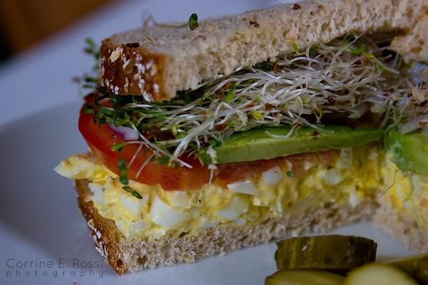 Egg, Tomato, Avacado, sprout Sandwich: Whole Wheat Bread