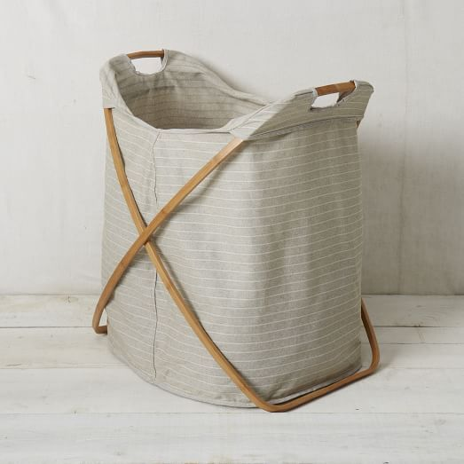 Bamboo Laundry Hamper - Double | west elm  If dirty laundry lived in tx rooms until end of each day..