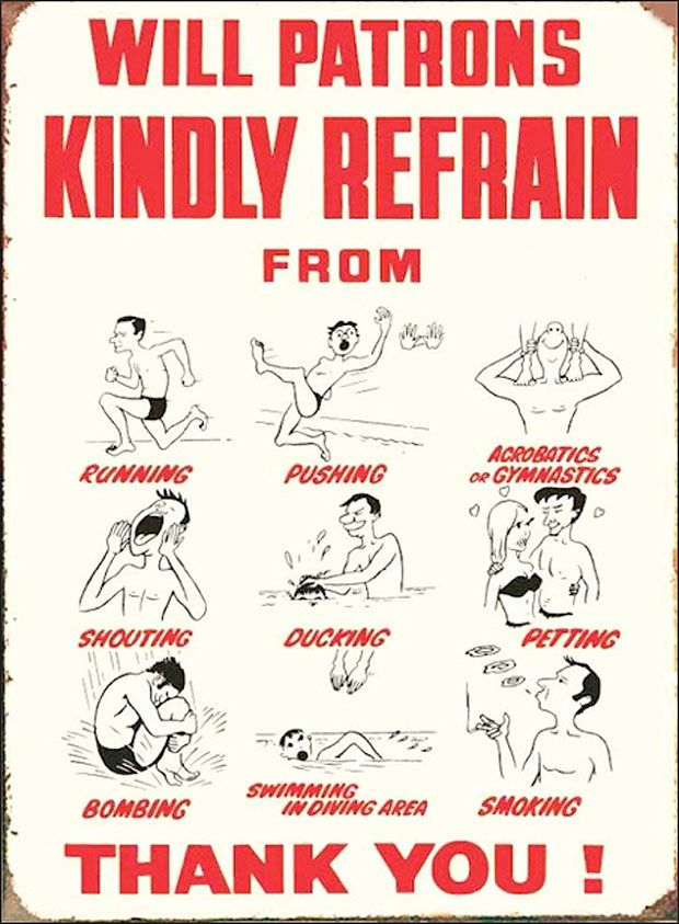 A bit of nostalgia for you.  I recall the days when I went swimming with my dad and this was on the wall!!