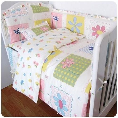 Baby Bedding Crib Cot Quilt Bumpers Sheet Sets - 9Pc Floral Theme