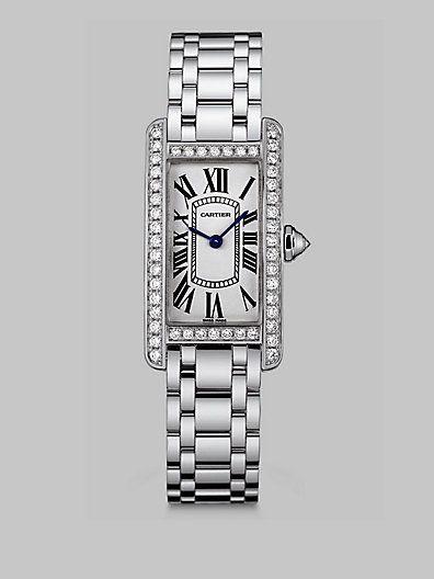 #Cartier - Tank Americaine 18K White Gold & Diamond Watch
