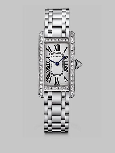 Cartier - Tank Americaine 18K White Gold & Diamond Watch, Small - Saks.com