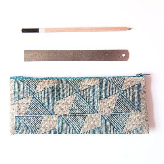 Regular Price! Black Geometric Large Linen Pencil Case – Christmas Gift for Men