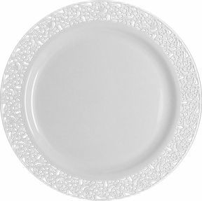 Elegant White Plastic 7 \  Salad Plate with White Lace - Posh Party Supplies  sc 1 st  Pinterest & 7 best plastic plates for wedding images on Pinterest | Marriage ...