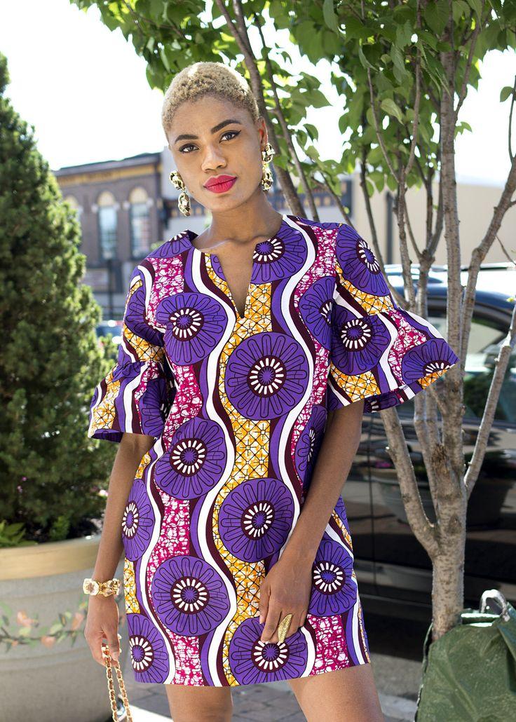 Eya Ruffle Sleeves Shift Modern African Dress (Purple/Pink Floral)