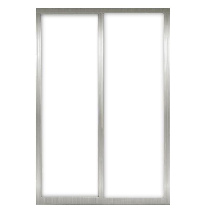 Contractors Wardrobe 60 in. x 81 in. Silhouette 1-Lite Mystique Glass Brushed Nickel Frame Aluminum Sliding Door